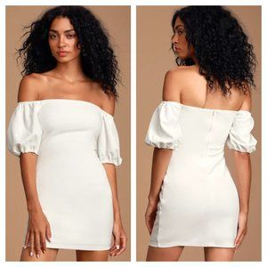 Lulu's Maylee White Off-the-Shoulder Dress NWT